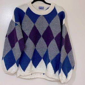 TLC Hand Knit Chunky Colour Block Argyle Sweater XXL